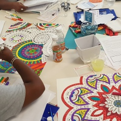 One of the focus areas of the day was relaxation; Scholars colored and received their own Zen Gardens.